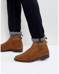 ASOS DESIGN Asos Chelsea Boots In Tan Suede With Leather Panel And Strap Detail