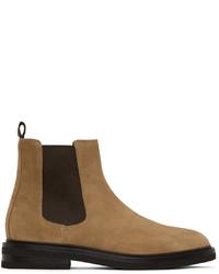 Brunello Cucinelli Beige Oiled Suede Chelsea Boots