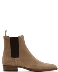 Saint Laurent Beige Suede Wyatt Chelsea Boots