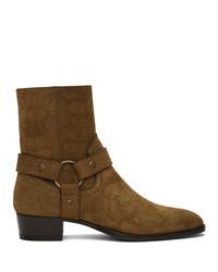 Saint Laurent Brown Croc Wyatt Harness Boots