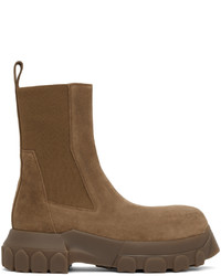Rick Owens Brown Suede Beetle Bozo Tractor Boots