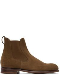 Loro Piana Brown Suede Lp City Beatle Walk Chelsea Boots