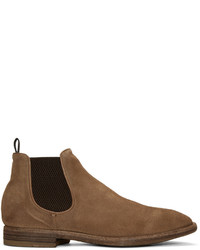 Officine Creative Brown Suede Princeton Chelsea Boots