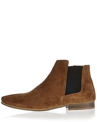 River Island Brown Suede Smart Chelsea Boots