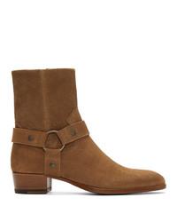 Saint Laurent Brown Suede Wyatt Boots