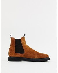 ASOS DESIGN Chelsea Boots In Tan Suede With Chunky Sole