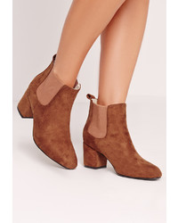 Missguided Tan Faux Suede Heeled Chelsea Boots