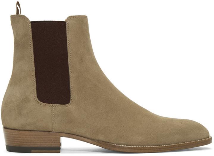 Saint Laurent beige suede Chelsea boots geniue stockist for sale k08gwXerI