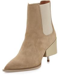 Givenchy Suede Screw Heel Chelsea Boot Beige