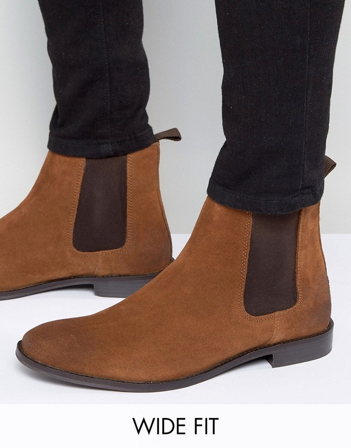 Asos Wide Fit Chelsea Boots In Tan