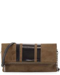 Faux suede fold over clutch bag oliveblack medium 957579
