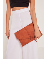 Missguided Faux Suede Thread Through Clutch Bag Orange