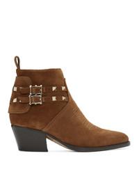 Valentino Brown Garavani Suede Cowboy Boots