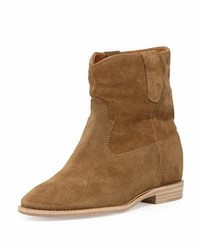 Isabel Marant Crisi Western Suede Bootie Tan