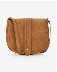 Express Faux Suede Trapunto Stitch Crossbody Saddle Bag