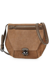 Kooba Marie Hexagon Suede Crossbody Bag Blackbrown
