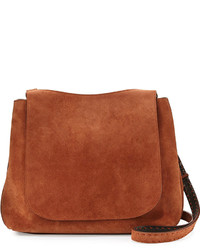 The Row Sideby Suede Satchel Bag Brown