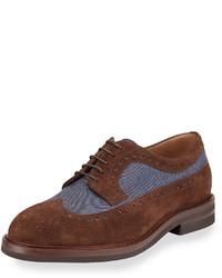 Brunello Cucinelli Denim Suede Wing Tip Derby Shoe Brownblue