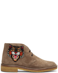 Gucci Tan Angry Cat Moreau Desert Boots