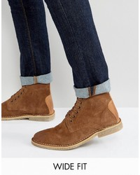 Asos Wide Fit Desert Boots In Tan Suede With Leather Detail