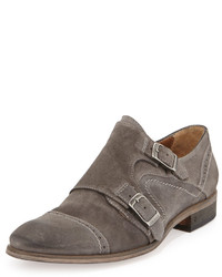 Suede double monk shoe stone medium 446346