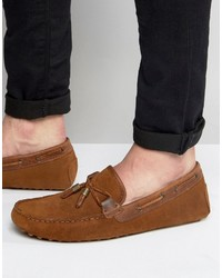Asos Driving Shoes In Tan Suede With Tan Leather Contrast Detail