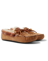 Quoddy Fireside Leather Trimmed Shearling Lined Suede Slippers