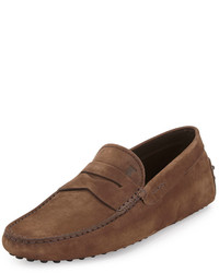 Tod's Suede Penny Driver Brown