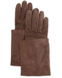 Brunello Cucinelli Leather Suede Short Gloves Brownie