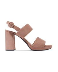 Prada 95 Suede Platform Slingback Sandals