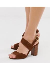 New Look Wide Fit Asymetric Block Heeled Sandal In Tan