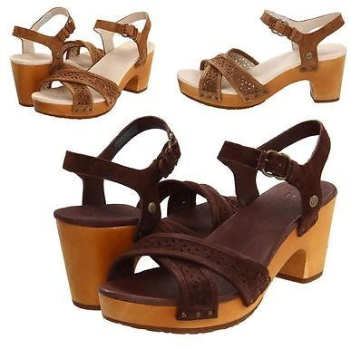 4346dd5f1f6 ... UGG Australia Luella Sandals Chocolateches Tnut Suede Heeled Shoes  Choose Size ...