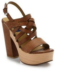 Polo Ralph Lauren Bree Wooden Platform Suede Sandals
