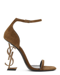 Saint Laurent Brown Suede Opyum Heeled Sandals