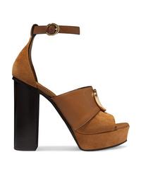 Chloé C Logo Embellished Leather And Suede Platform Sandals