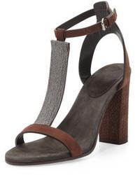 Brunello Cucinelli Chain T Strap High Heel Sandal Dark Brown