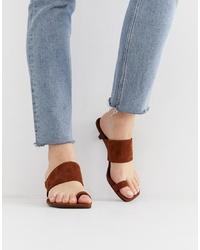 Vagabond Polly Brown Suede Toe Kitten Heel Sandals