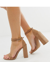 ASOS DESIGN Wide Fit Highlight Barely There Block Heeled Sandals In Beige