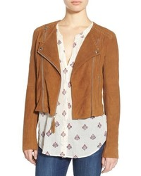 Denim tiana crop suede moto jacket medium 561884
