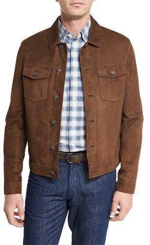 f0151220 $1,527, Ermenegildo Zegna Suede Utility Jacket Chestnut