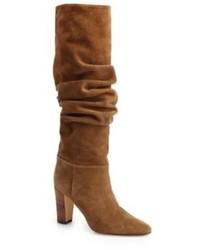 Manolo Blahnik Brunchile Suede Scrunched Knee High Boots