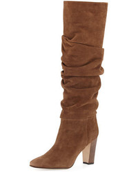 Brunchilee suede scrunched knee boot brown medium 676374