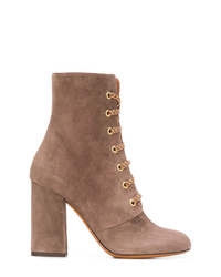 Brown Suede Lace-up Ankle Boots