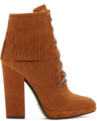 Brown suede fringed ankle boots medium 372750