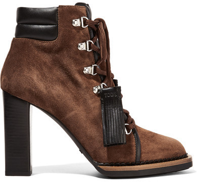 d8d459e8ba5 Tod's Lace Up Leather Trimmed Suede Ankle Boots Tan, $1,155 | NET-A ...