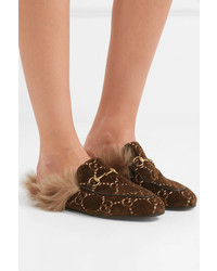 bb0ab8839 ... Gucci Princetown Horsebit Detailed Shearling Lined Logo Jacquard  Slippers ...