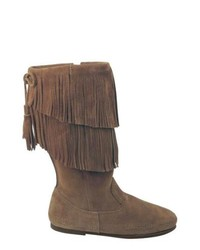 Minnetonka 2 Layer Fringe Boot Dusty Brown Suede Boots