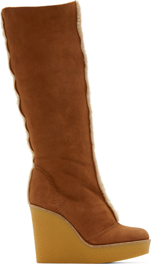 6f3613d0d8c $950, Chloé Tan Shearling Wedge Boots