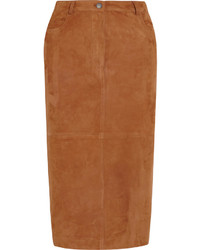 92ec3d1328 Women's Beige Turtleneck, Brown Suede Midi Skirt, Tan Leather Knee ...