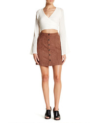 14th Union Faux Suede Button Mini Skirt